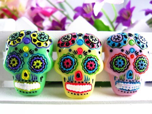 15pcs/lot  flat back resin sugar skull DIY resin cabochons accessories about 18*25mm - TigerSo
