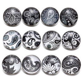 12pcs/lot Black&White Theme Paisley Element Pattern 18mm - TigerSo