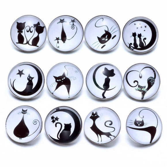 12pcs/lot Black&White Theme Cat Pattern Glass Charms 18mm Snap Button - TigerSo