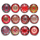 12pcs/lot Red Series Theme Beautiful Exotic Pattern 18mm Snap Button Charms - TigerSo