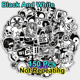 150 Pcs Black and White Stickers Cool DIY - TigerSo