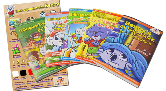 Bilingual Benny 5 Book Set + Learning Poster (Learn Spanish for Kids/Bilingual) - Teacher In Spanish