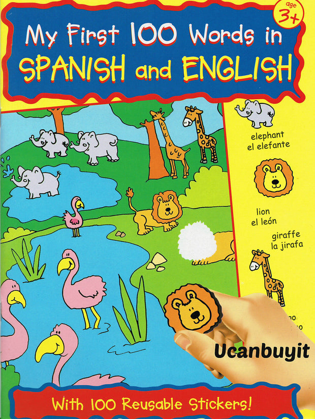 MY FIRST 100 WORDS IN SPANISH & ENGLISH Activity Book w/Reusable Stickers Age 3+ - Teacher In Spanish