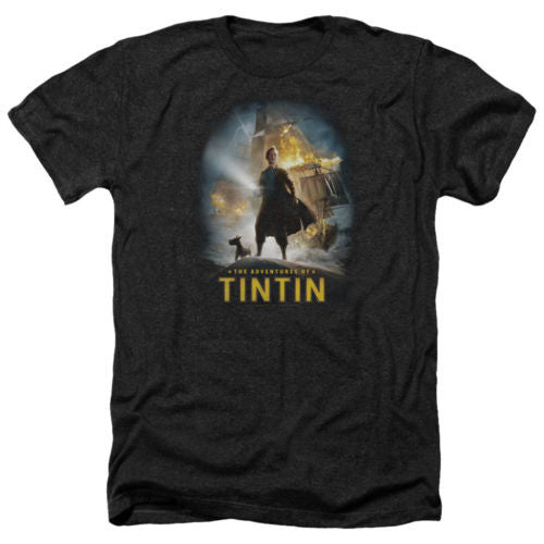 Tintin Poster Mens Heather Shirt Black