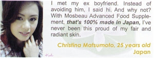 Advanced Food Supplement Testimonial by Christina Matsumoto for Mosbeau and KutiSkin
