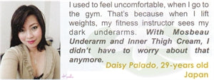 Underarm & Dark Spot Cream Testimonial by Daisy Palado for Mosbeau and KutiSkin