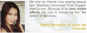 Advanced Food Supplement Testimonial by Elaine Bernardo for Mosbeau and KutiSkin