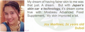 Advanced Food Supplement Testimonial by Joy Martinez for Mosbeau and KutiSkin