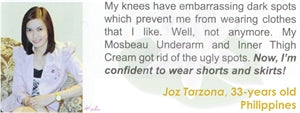 Underarm & Dark Spot Cream Testimonial by Joz Tarzona for Mosbeau and KutiSkin