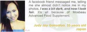 Advanced Food Supplement Testimonial by Judy Joy Gansatao for Mosbeau and KutiSkin