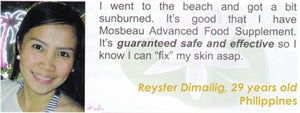 Advanced Food Supplement Testimonial by Reyster Dimailig for Mosbeau and KutiSkin