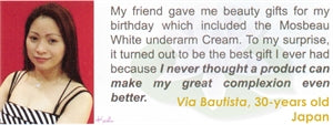 Underarm & Dark Spot Cream Testimonial by Via Bautista for Mosbeau and KutiSkin
