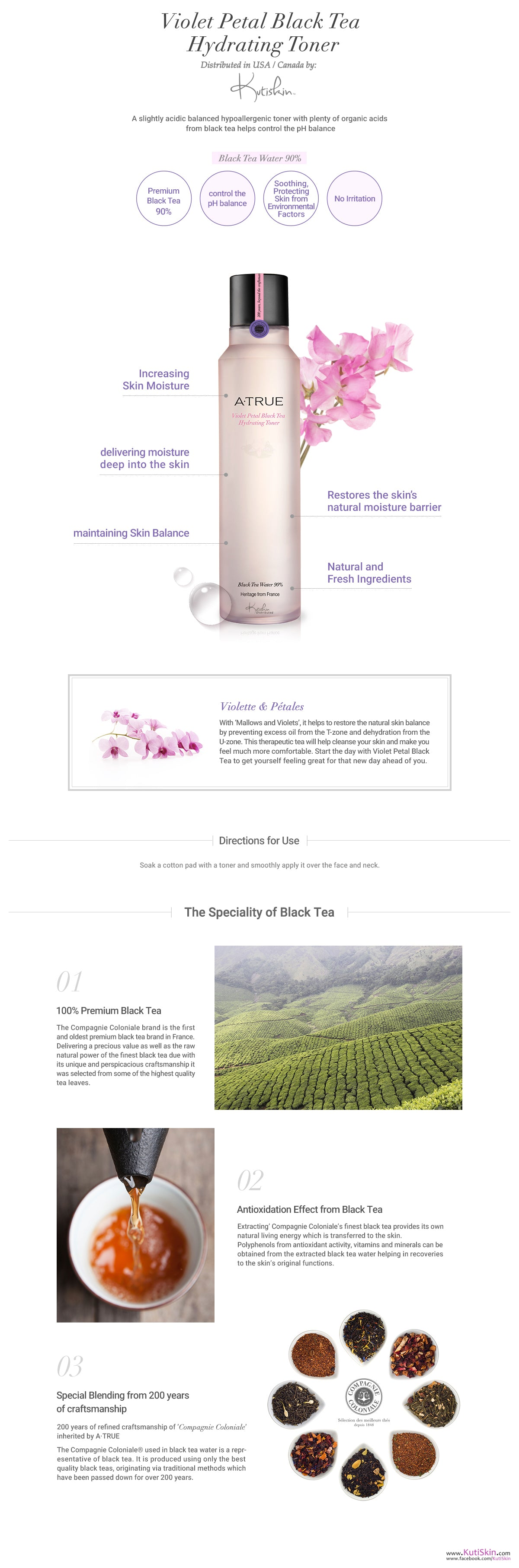 KutiSkin - ATRUE Violet Petal Black Tea Hydrating Toner Description Poster