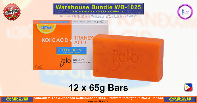 KutiSkin - WB1025 - Belo Intensive Whitening (Kojic+Tranexamic) with Lemon Scrub Bar Bundle - HALAL