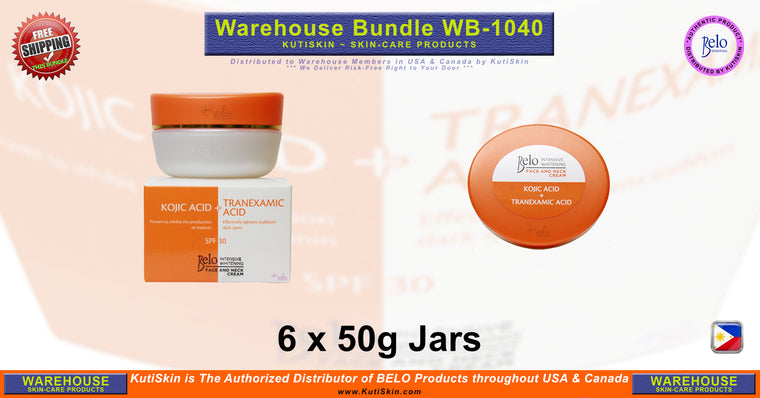 KutiSkin - WB1040 - Belo Intensive Whitening Face & Neck Cream Jar Bundle HALAL