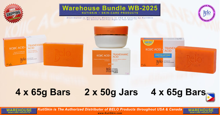 KutiSkin - WB2025 - Belo Intensive Face & Neck Cream and Regular Kojic and Lemon Scrub Bar Bundle - HALAL