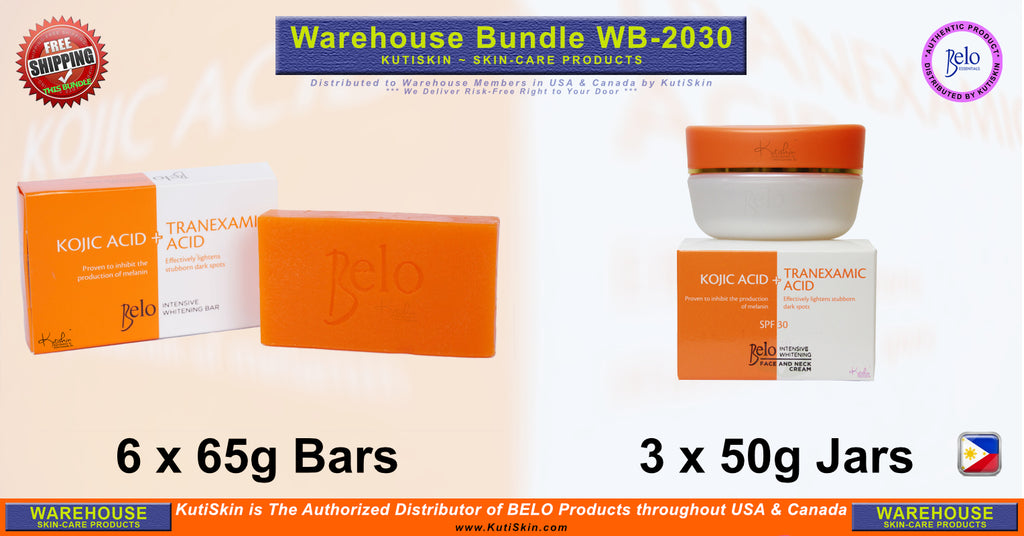 KutiSkin - WB2030 - Belo Intensive Face & Neck Kojic Cream and Regular Kojic  Bar Bundle - HALAL