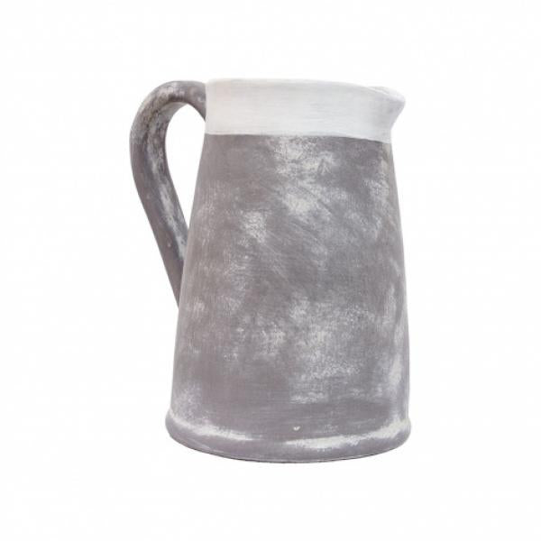 Tall White Rim Gray Clay Pitcher - Bloom'n Things, LLC