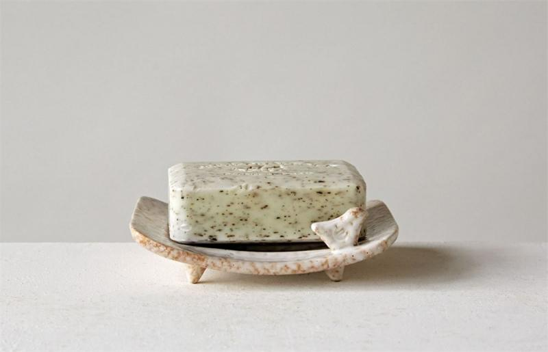 Stoneware Soap Dish with Bird - Bloom'n Things