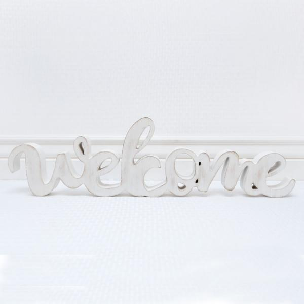 Wooden Cut-Out Welcome Sign - White - Bloom'n Things, LLC