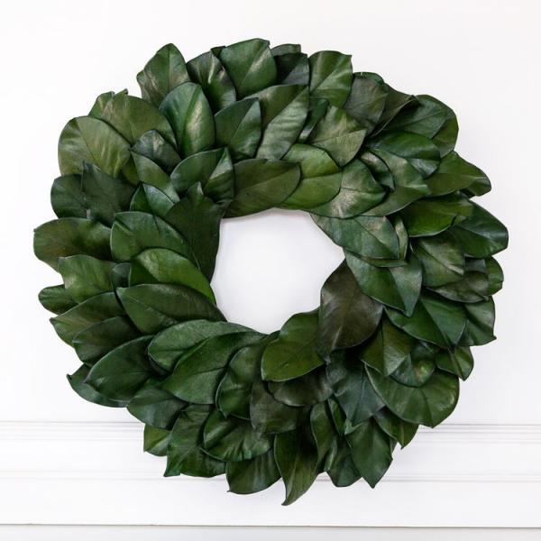 "20.5"" Preserved Magnolia Wreath, Green - Bloom'n Things, LLC"