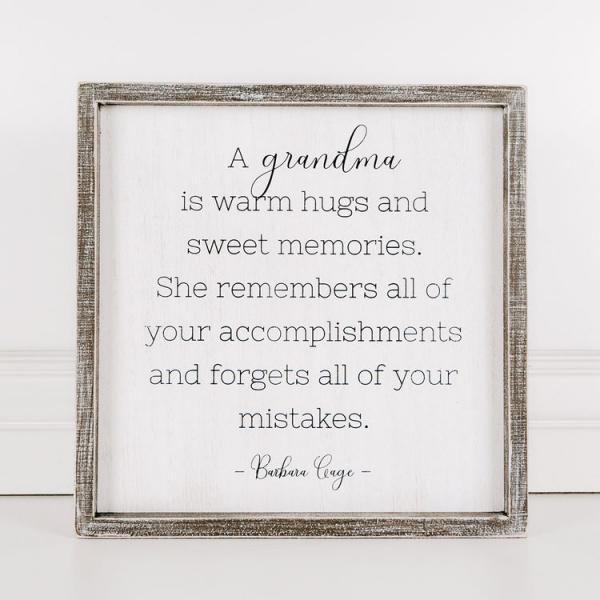 """A grandma is warm hugs and sweet memories......"" Wood Framed Sign - Bloom'n Things, LLC"