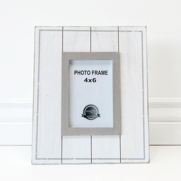 "9.25"" X 11"" X .5"" Wood Photo Frame, White/Gray  - 4x6 Photo - Bloom'n Things, LLC"