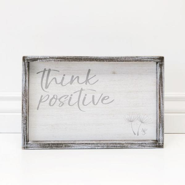 """Think Positive"" Wood Framed Sign - 13""x 8.5""1.5"" - Bloom'n Things"