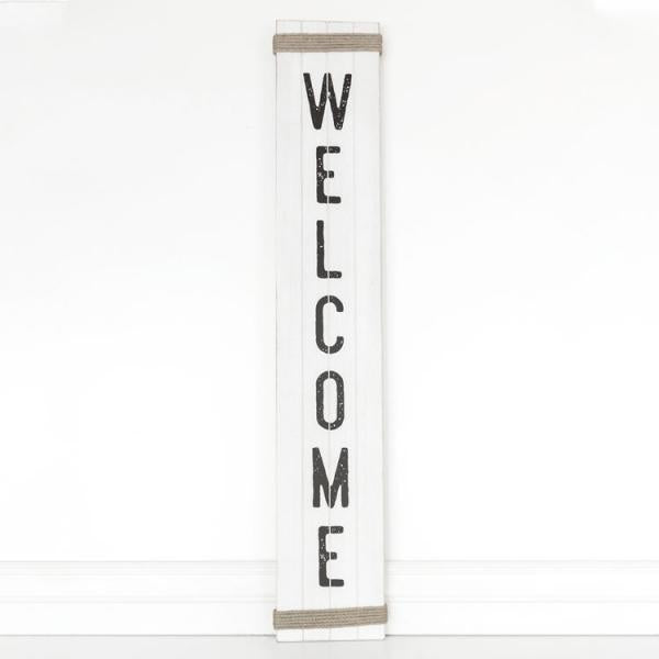 "Welcome Sign - 40""x 6.75"" x.5"" Wooden Sign with Rope Accents - Bloom'n Things (4553017589841)"