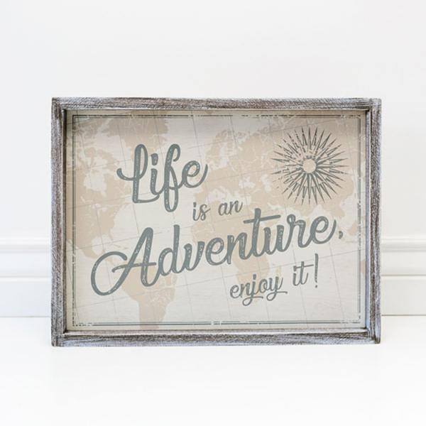 """Life is an Adventure, enjoy it!"" Multi-Color with Wood Frame - Bloom'n Things, LLC"