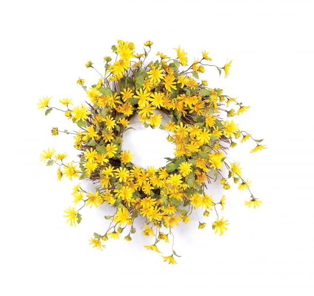 "Daisy Wreath - 23"" D - Yellow - Bloom'n Things (4558588575825)"