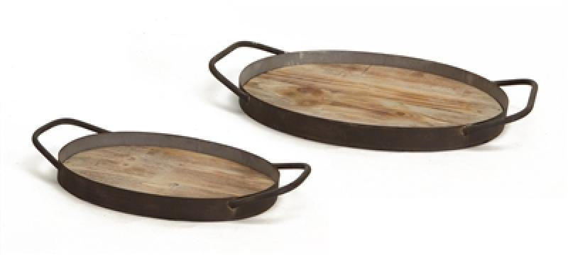 Set of (2) Wood Grain & Metal Trays - Bloom'n Things