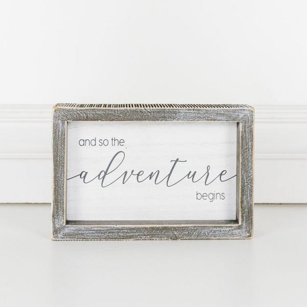 """And so the adventure begins"" Wood Framed Sign - Bloom'n Things (4558706049105)"