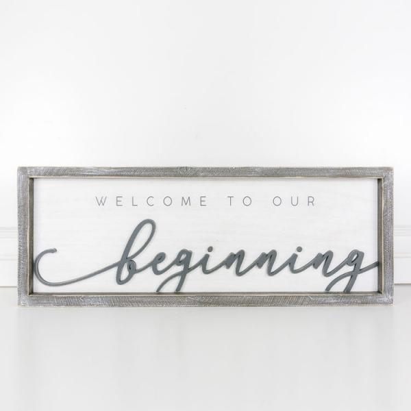 """Welcome to our beginning"" Wood Framed Sign - Bloom'n Things, LLC"