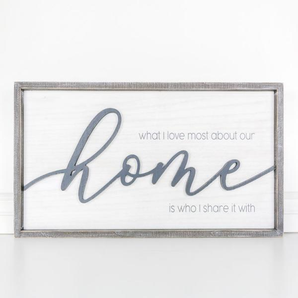 """What I love most about our home....."" Wood Framed Sign - Bloom'n Things, LLC"