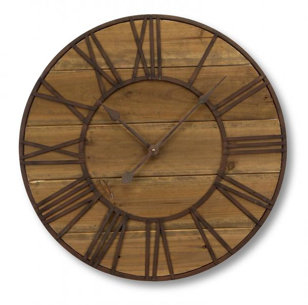 "Round Roman Numeral Wall Clock 23.5""D Wood/Metal - Bloom'n Things, LLC"