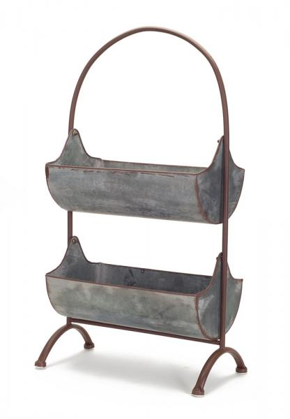 Two-Tiered Basket Stand - Metal - Bloom'n Things, LLC