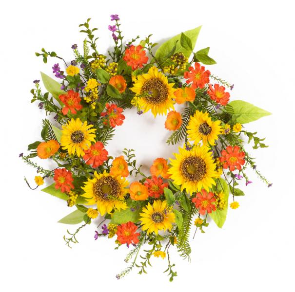 "Sunflower Wreath - 22""D - Bloom'n Things (4559526101073)"