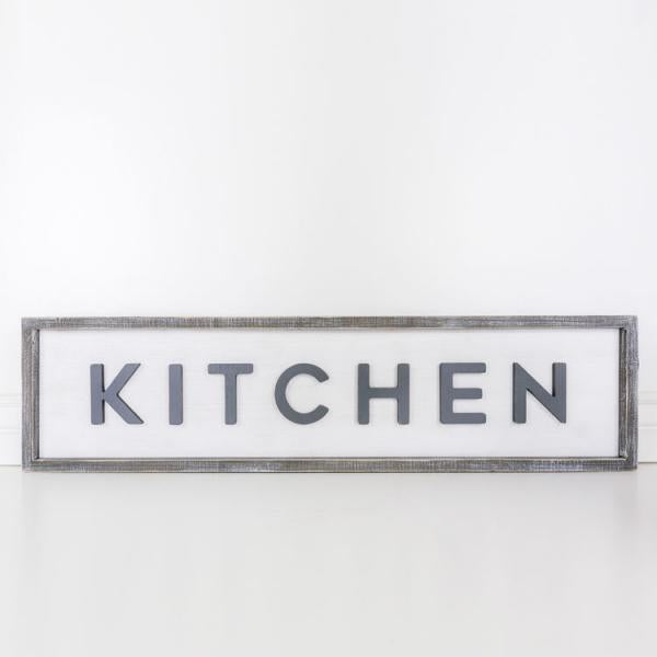 """Kitchen"" Sign - Reversible 37""x9""x1.5"" - Bloom'n Things, LLC"