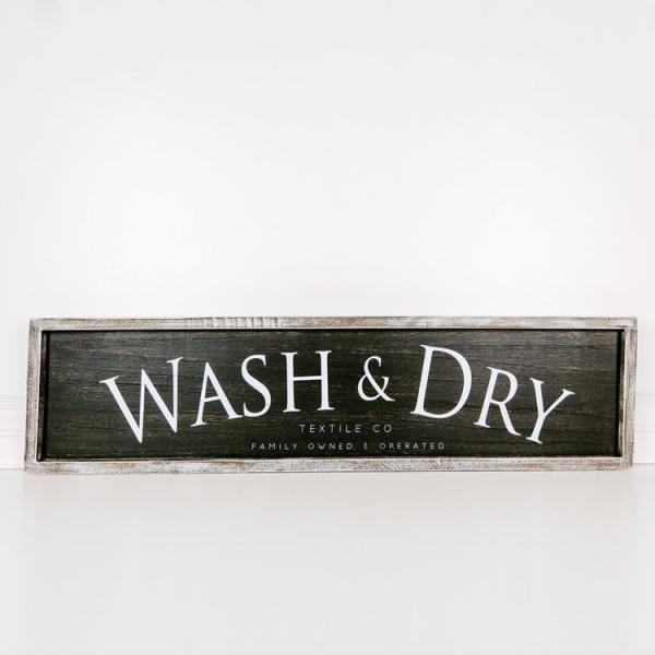 """Wash & Dry"" Reversible Wood Sign - Bloom'n Things (4560331767889)"