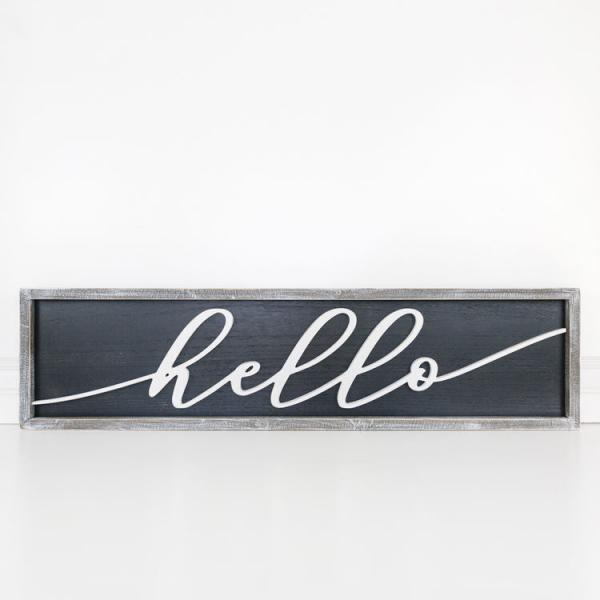 """Hello"" Reversible Wood Framed Sign - Bloom'n Things (4560367288401)"