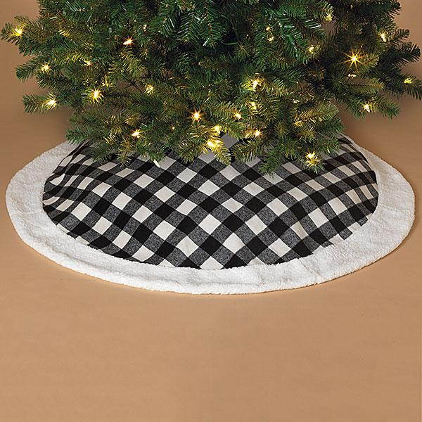 "48""D Black/White Plaid Tree Skirt with Faux Trim - Bloom'n Things (4698229243985)"