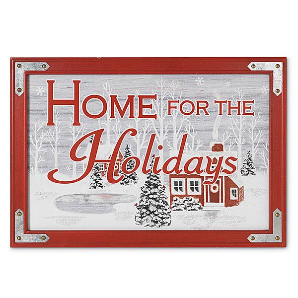 """Home for the Holidays"" Wood/Metal Sign - Bloom'n Things"