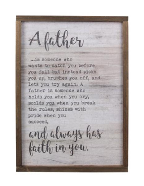 Wood Framed Father Wall Sign with Crackle Finish - Bloom'n Things, LLC
