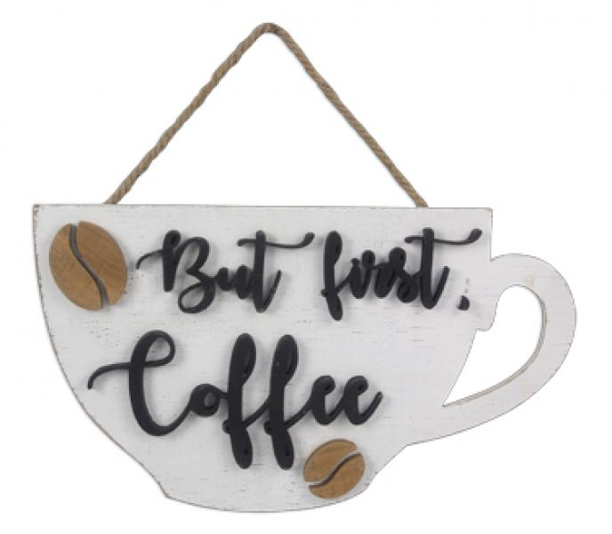 Coffee Mug Shape Wall Sign w/ 3D Words - Bloom'n Things, LLC