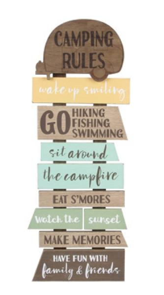 Wood Wall Hanging 3D Camping Rules Sign - Bloom'n Things (5966696317112)