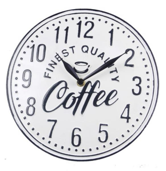 Embossed Tin Tabletop Coffee Clock - Bloom'n Things (5966745174200)