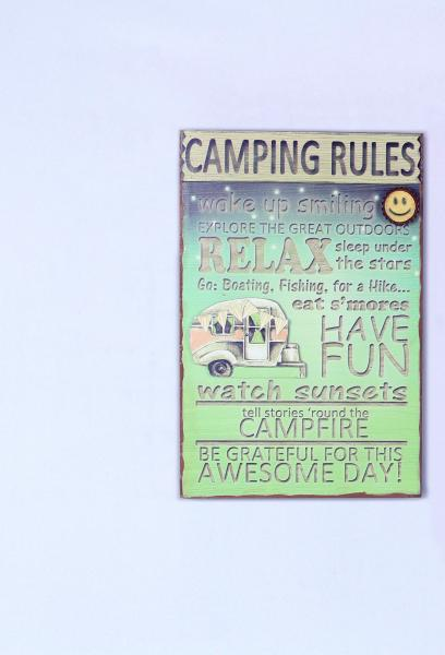 Camping Rules Wall Plaque - Bloom'n Things