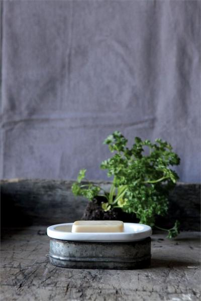 Two piece Metal & Stoneware Soap Dish