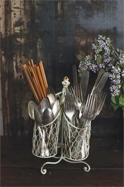 Wire Utensil Holder - Cream - Bloom'n Things, LLC